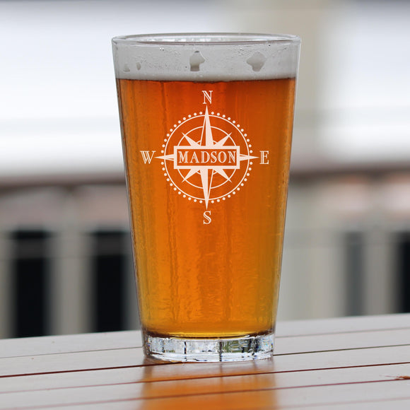 Monogrammed Compass Engraved Pint Glass