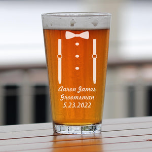 Monogrammed Suspenders Engraved Pint Glass