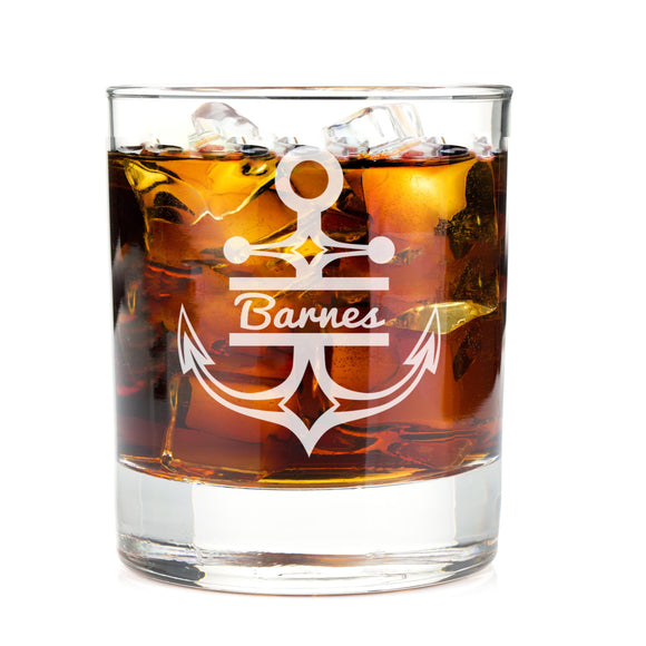Monogrammed Anchor Engraved Whiskey Glass