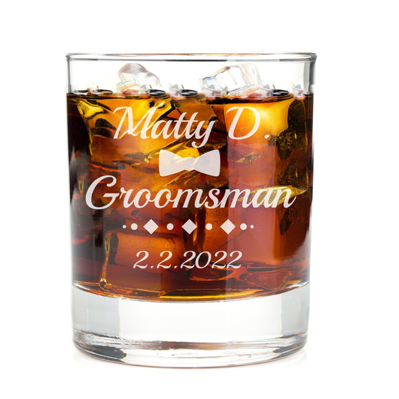 Monogrammed Diamond Bow Engraved Whiskey Glass