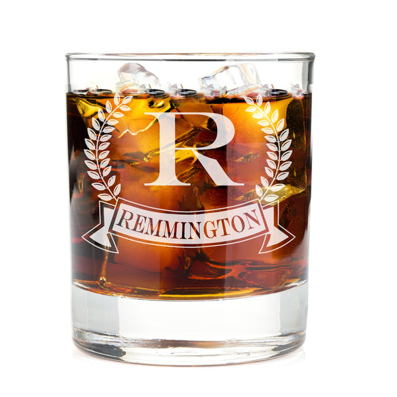 Monogrammed Wheat Banner Engraved Whiskey Glass