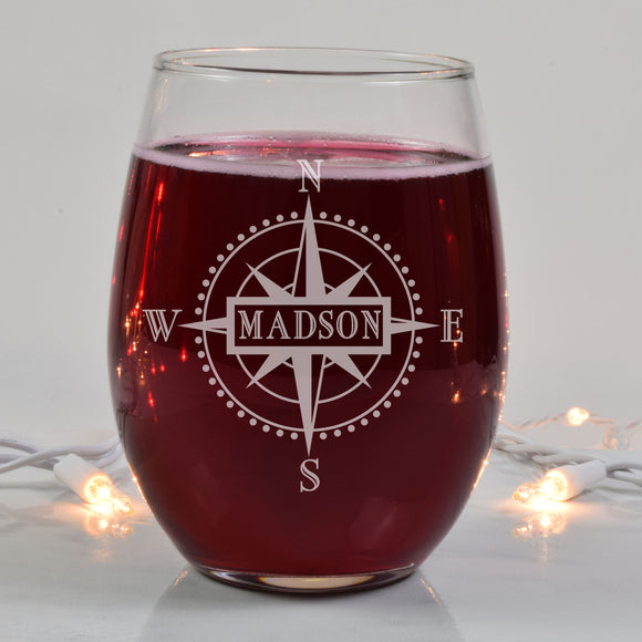 Monogrammed Compass Engraved Stemless Wine Glasses