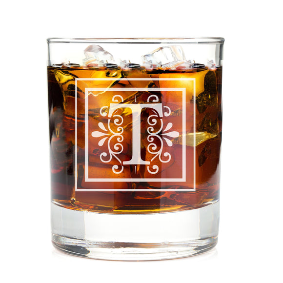 Monogrammed Apex Lake Engraved Whiskey Glass