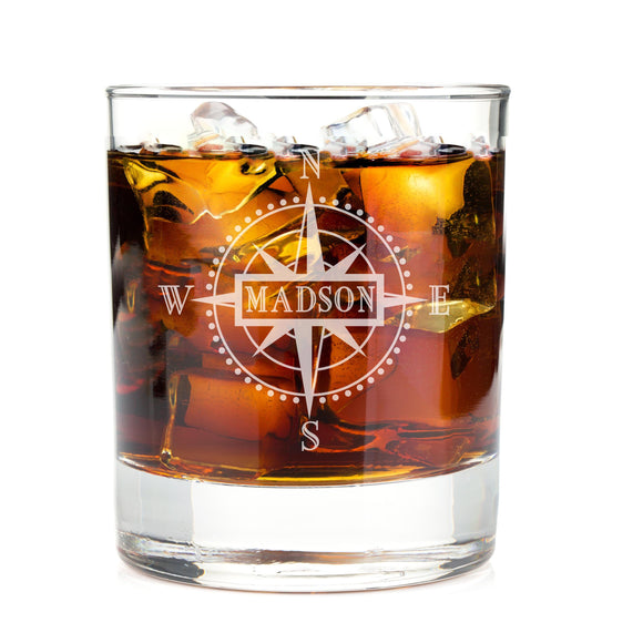 Monogrammed Compass Engraved Whiskey Glass