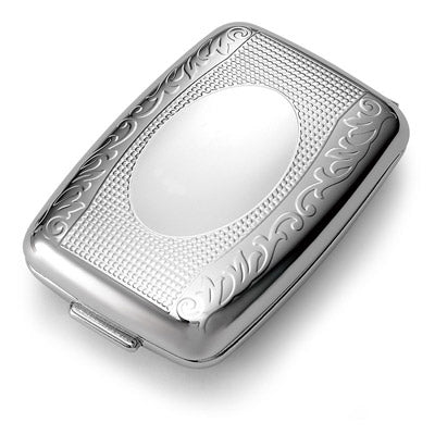 Shiny Chrome Floral Pill Box