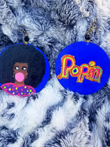 She's Poppin Hand Painted Wood Earrings