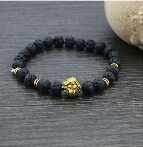 Lion Lava Beaded Bracelet