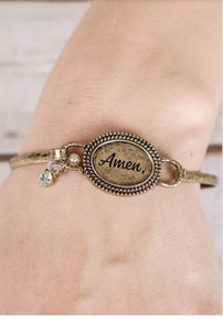 "Women Brass Metal ""Amen"" Bracelet"