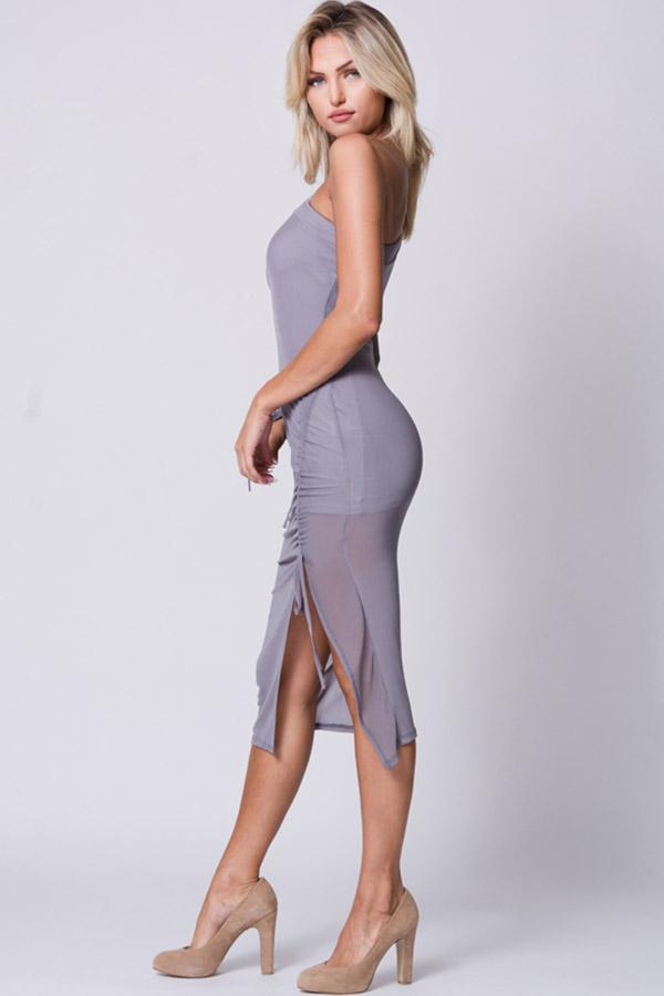 One Shoulder Mesh Midi Dress - Favshion