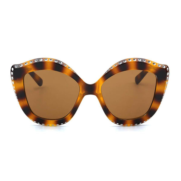 ANGOLA | S1092 - Women Oversized Round Cat Eye Fashion Sunglasses - Favshion
