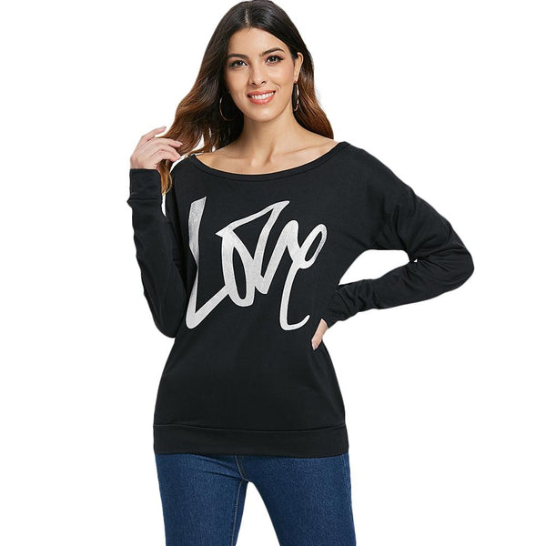 Love Pattern Dropped Shoulder Sweatshirt - Favshion