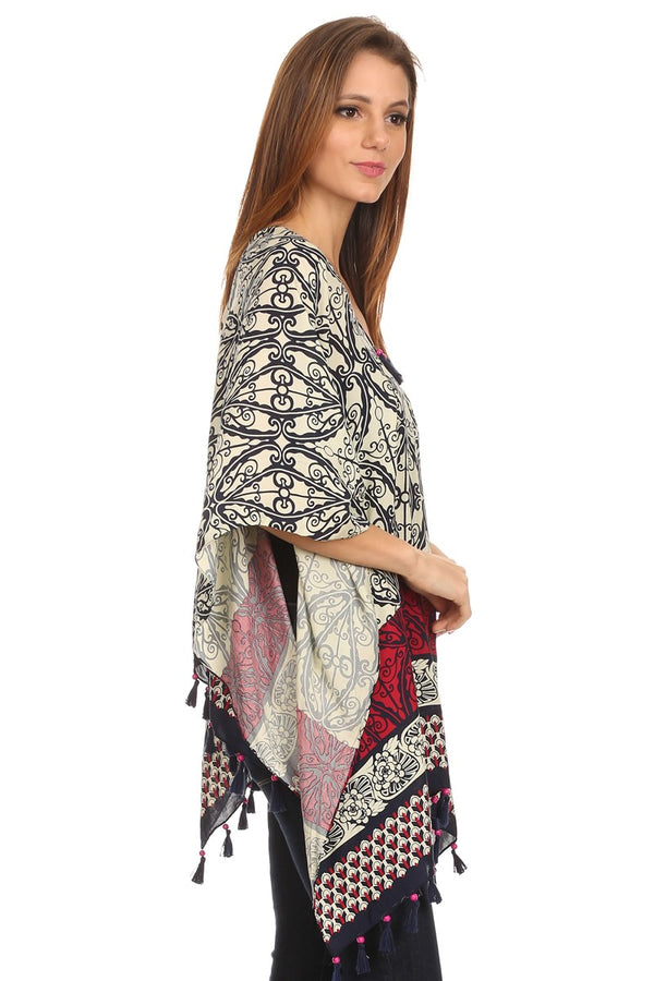 Womens Pullover Lightweight Poncho With Wooden Beaded Tassels - Favshion