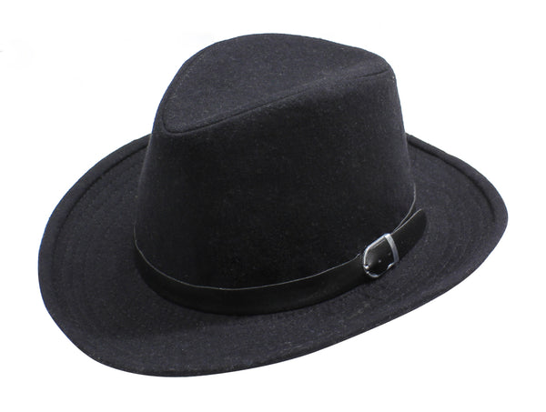 Womens Felt Fedora Hat With Faux Black Leather Buckle - Favshion
