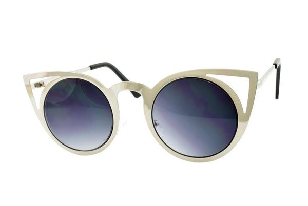 Silver Cateye Metal Sunglasses - Favshion
