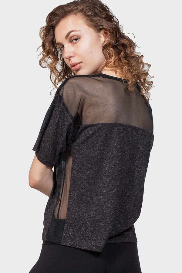 Back Mesh Yoke Top - Favshion