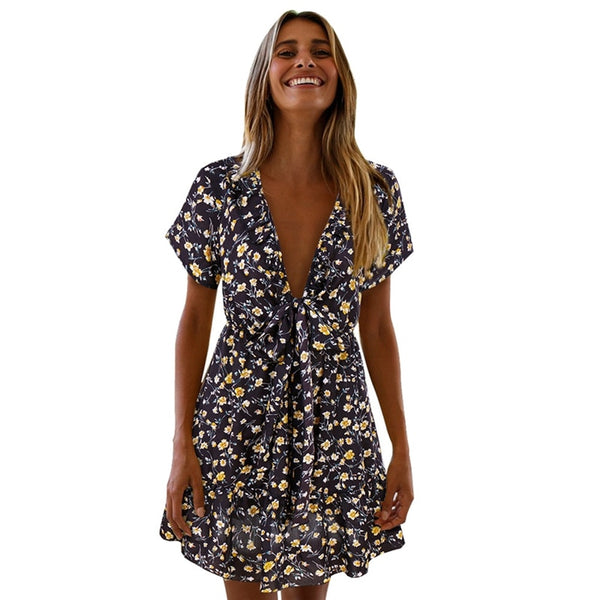 1PC Chest Knotted V-neck Floral Dress - Favshion