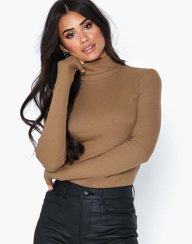 PCBIRDIE BROWN TURTLENECK