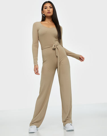 RIBBED LS JUMPSUIT