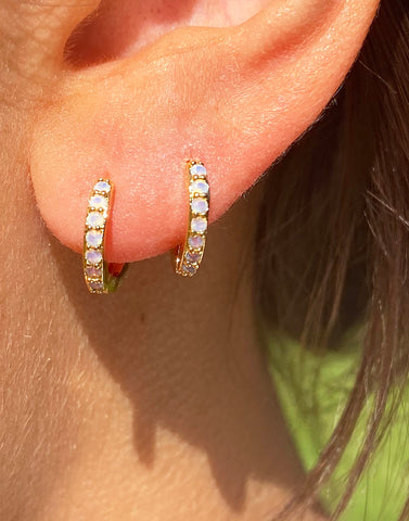 WHITE OPAL HOOPS SMALL
