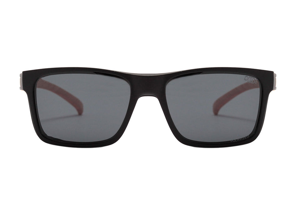 Óculos de Grau HB Polytech 0339 Clip On Matte Black Wood / Gray Polarized - Lente 5,3 cm