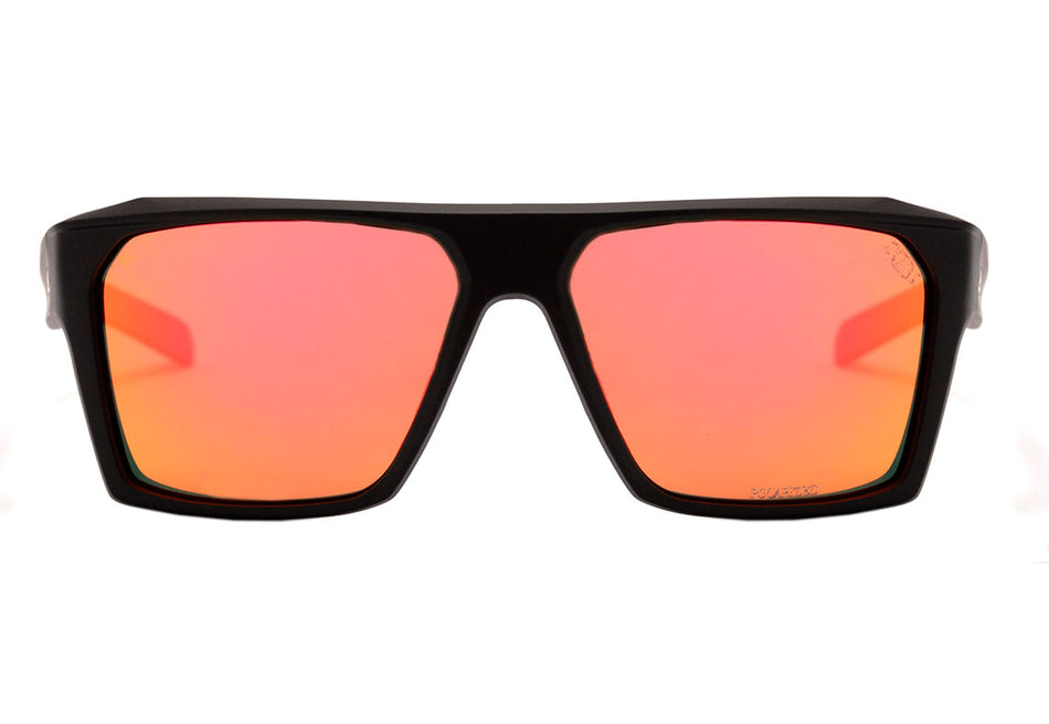 Óculos de Sol HB Split Carvin Matte Black D. Red/ Red Polarized UNICO