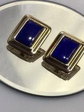 Load image into Gallery viewer, 14KT Solid Yellow Gold And Natural Blue Lapis Stone Earrings