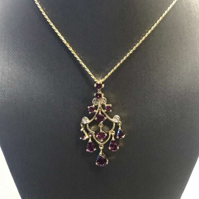 10K Yellow Gold Diamond And Pink Tourmeline Dangling Pendant
