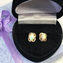 Load image into Gallery viewer, 14K Yellow Gold Opal Earrings Post Pierced Gorgeous Color