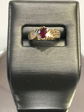 Load image into Gallery viewer, 14KT Solid Yellow Gold Marquise Ruby Fluted By Pass Ring