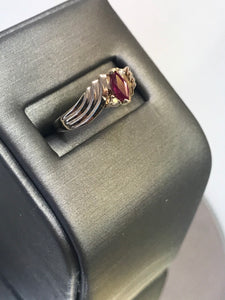 14KT Solid Yellow Gold Marquise Ruby Fluted By Pass Ring