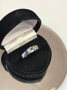 14K Solid White Gold Princess Cut Blue Topaz Ring