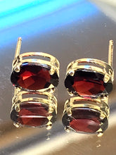 Load image into Gallery viewer, 14KT Yellow Gold Oval Garnet Stud Earrings Pierced Post