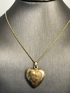 14KT Y/G 2 Picture Heart Locket Pendant