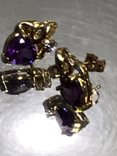 Load image into Gallery viewer, 14KT Solid Yellow Gold Amethyst & Diamond Earrings