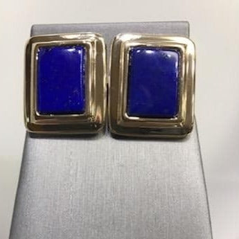 14KT Solid Yellow Gold And Natural Blue Lapis Stone Earrings
