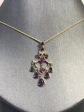Load image into Gallery viewer, 10K Yellow Gold Diamond And Pink Tourmeline Dangling Pendant