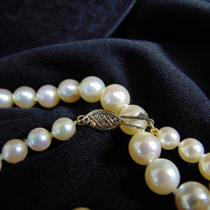 "19"" Graduated Cultured Pearl Necklace Vintage Classy"