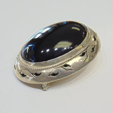 Load image into Gallery viewer, Vintage Sterling Silver Pin Brooch Pendant Large Black Onyx Stone PG