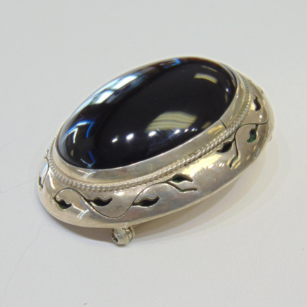 Vintage Sterling Silver Pin Brooch Pendant Large Black Onyx Stone PG