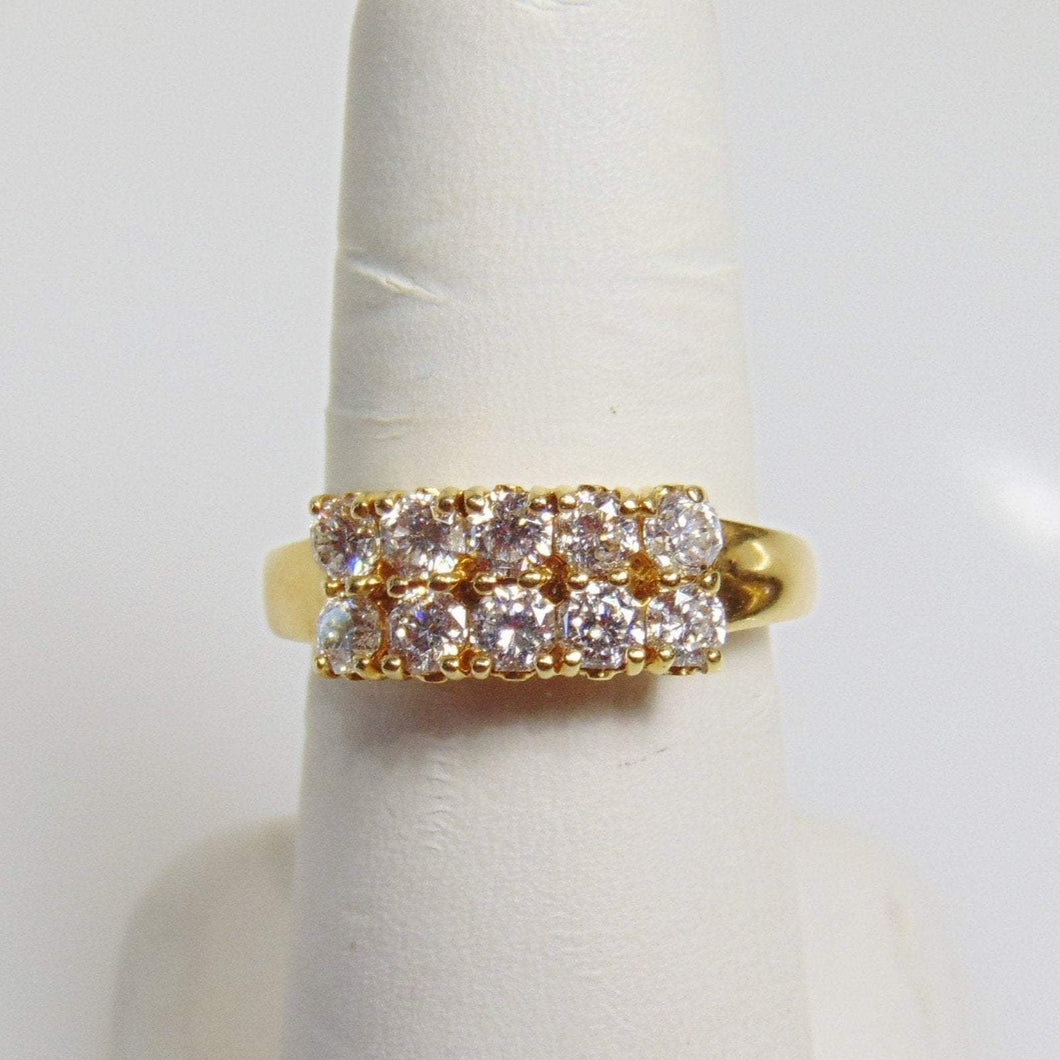 18KT Yellow Gold Diamond Ring Heavy Setting Asscher Cut Diamonds 1.35cts