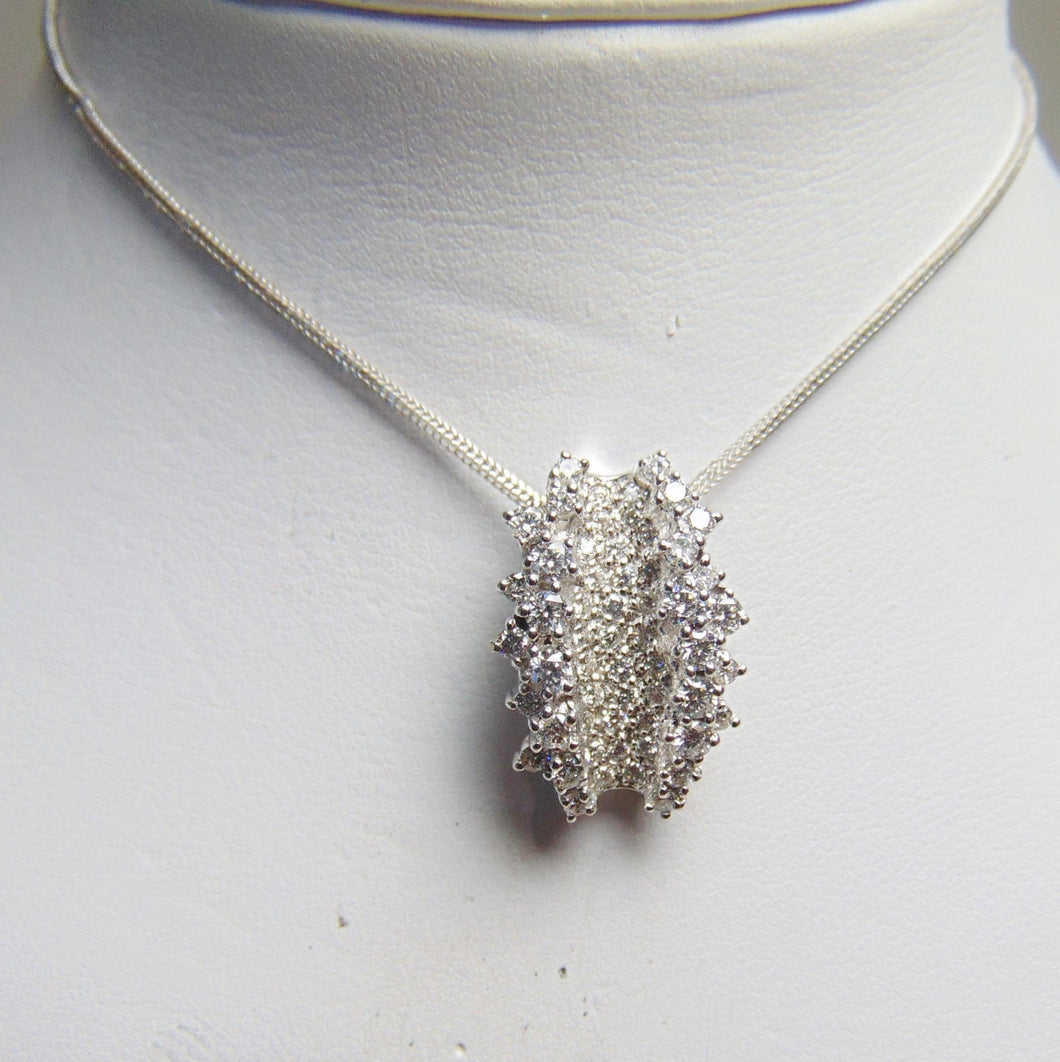 14KT White Gold Diamond Cluster Necklace