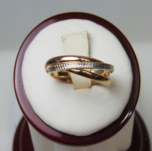 Tri Color Wonder Ring 3 Band Ring White Yellow & Pink Gold