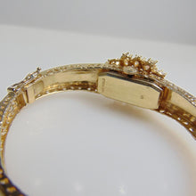 Load image into Gallery viewer, 14KT Yellow Gold Heavy Filigree Opal Bracelet With Swiss Watch Insert