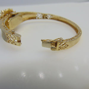 14KT Yellow Gold Heavy Filigree Opal Bracelet With Swiss Watch Insert