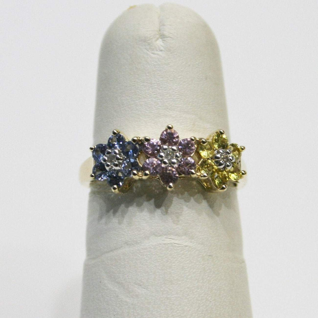 14KT Yellow Gold Multi Color Diamond Flower Ring