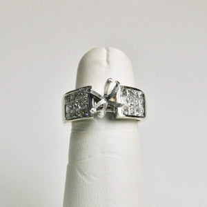 18KT White Gold Princess Cut Diamond Ring Remount