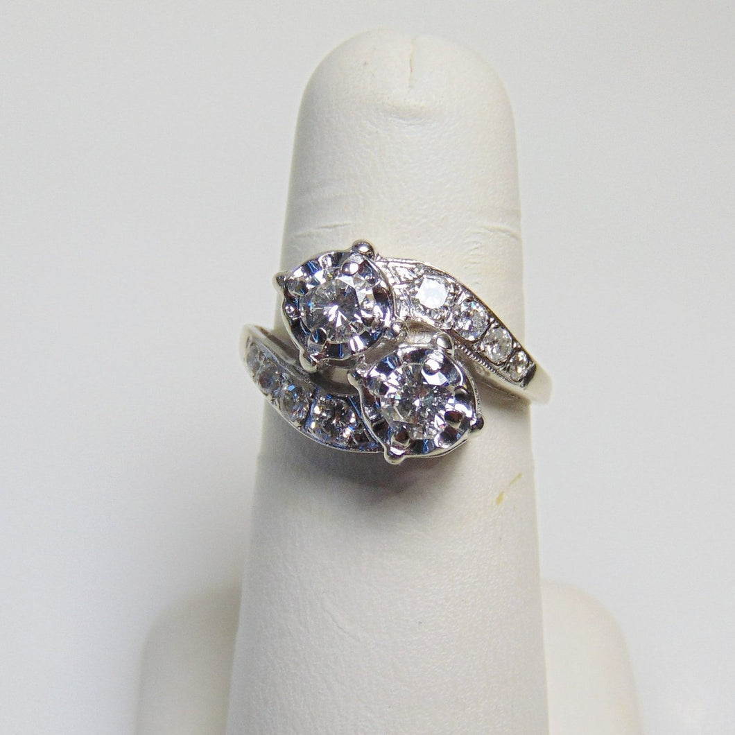 14KT White Gold Double Diamond By Pass Ring Gorgeous 1 Carat TDW
