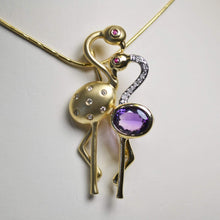 Load image into Gallery viewer, 14KT Yellow Gold Diamond & Amethyst Flamingo Pendant Pin
