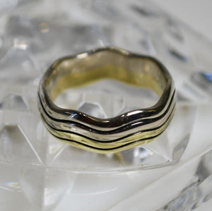 Heavy Casted 14KT White & Yellow Gold Band