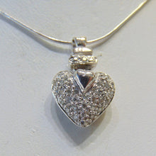 Load image into Gallery viewer, 14KT White Gold Pave Diamond Heart Pendant W/ 14KT Di-Cut Snake Chain